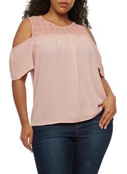 Plus Size Cold Shoulder Top with Crochet Yoke - BLUSH - 9406072681164
