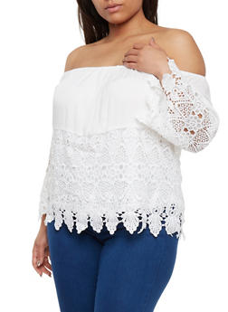 Plus Size Off the Shoulder Crochet Top with Scalloped Hem - WHITE - 9406073552301