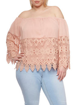Plus Size Off the Shoulder Crochet Top with Scalloped Hem - 9406073552301