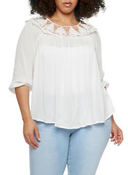 Plus Size Off the Shoulder Crochet Trimmed Top - 9406073553065