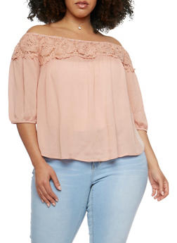 Plus Size Off the Shoulder Crochet Trimmed Top - 9406073553065