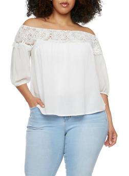 Plus Size Open Crochet Neck Top - IVORY - 9406073553263