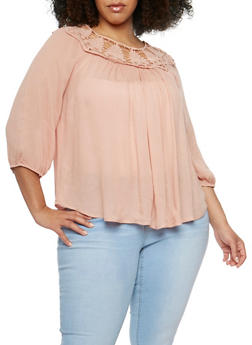 Plus Size Open Crochet Neck Top - 9406073553263