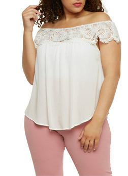 Plus Size Off the Shoulder Top with Crochet Trim - 9406073553266