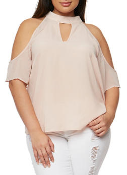 Plus Size Sheer Cold Shoulder Choker Top - 9406073559370