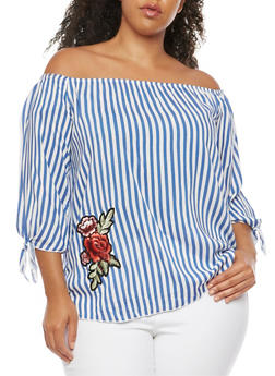 Plus Size Striped Off the Shoulder Top - 9406074014963