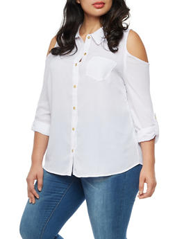 Plus Size Cold Shoulder Button Front Tab Sleeve Top - 9406074091112