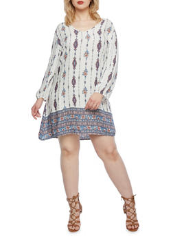 Plus Size Shift Dress with Paisley Print Throughout - 9407020624441