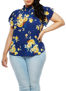 Plus Size Floral Mock Neck Top - 9407020626592