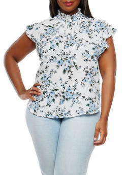 Plus Size Printed Smocked Neck Top - 9407020626593