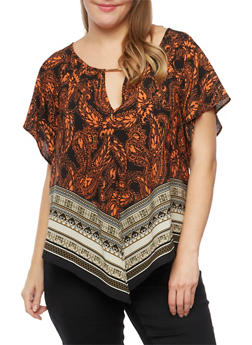 Plus Size Printed Top with Cutout - 9407035042567