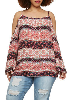 Plus Size Cold Shoulder Top in Mixed Print - 9407054262698