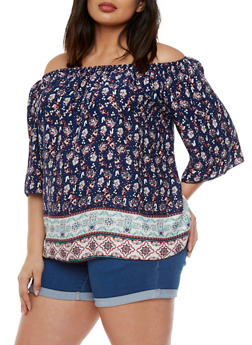 Plus Size Paisley Top with Elastic Scoop Neck - 9407054263448