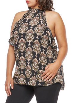 Plus Size Printed Mock Neck Ruffle Top - 9407054263594