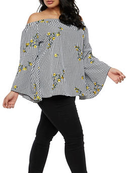 Plus Size Off the Shoulder Gingham Top - 9407056122461