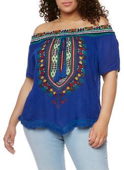 Plus Size Dashiki Print Off the Shoulder Top with Fringe Trim - 9407056122836