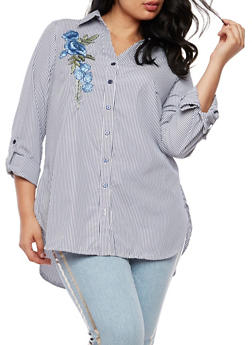 Plus Size Striped Button Front Top - 9407056126446