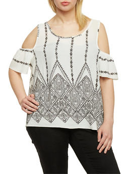 Plus Size Printed Cold Shoulder Peasant Top - WHITE - 9407064461098