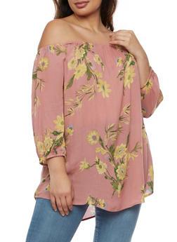 Plus Size Off the Shoulder Floral Top - 9407068702918