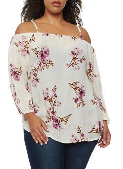 Plus Size Off the Shoulder Floral Peasant Top - 9407068708291