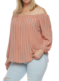 Plus Size Striped Off the Shoulder Top - 9407069390911