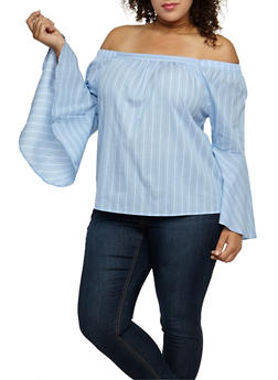 Plus Size Striped Bell Sleeve Off the Shoulder Top - 9407069391347