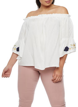 Plus Size Off the Shoulder Top with Floral Applique - IVORY - 9407073557010