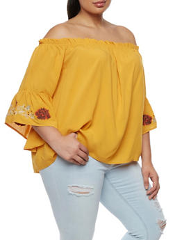Plus Size Off the Shoulder Top with Floral Applique - 9407073557010