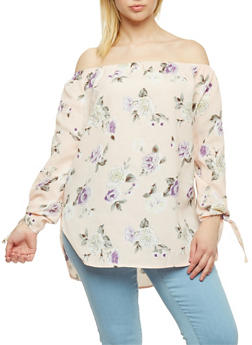 Plus Size Floral Off the Shoulder Tunic Top - 9407073933999