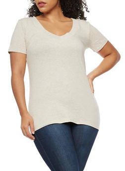 Plus Size V Neck T Shirt - 9416054265056