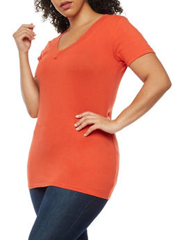Plus Size V Neck T Shirt - 9416054265056
