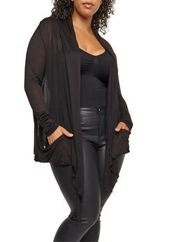 Plus Size Solid Jersey Cardigan - 9416054266161