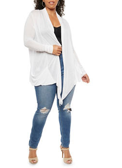 Plus Size Solid Jersey Cardigan - WHITE - 9416054266161