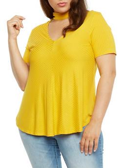 Plus Size Rib Knit Choker Keyhole Top - 9416054266888