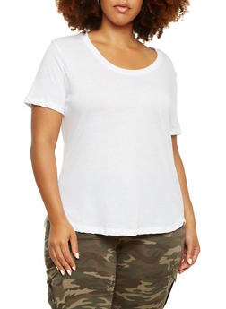 Plus Size T-Shirt with High-Low Hem - WHITE - 9416054268108