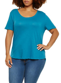 Plus Size T-Shirt with High-Low Hem - 9416054268108
