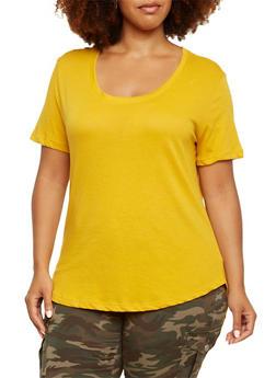 Plus Size T-Shirt with High-Low Hem - GOLD - 9416054268108