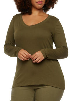 Plus Size Long Sleeve Jersey V-Neck Top - 9416054269000