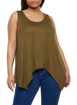 Plus Size Solid Sharkbite Tank Top - 9416054269598