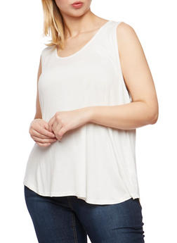 Plus Size Scoop Neck Tank Top with Lace Back - OFF WHITE - 9416054269612