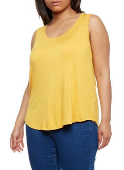 Plus Size Scoop Neck Tank Top with Lace Back - MUSTARD - 9416054269612