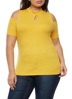 Plus Size Rib Knit Cold Shoulder Top with Keyhole - 9416054269755