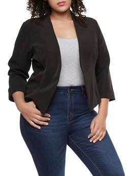 Plus Size Long Sleeve Open Front Blazer - 9423020626499