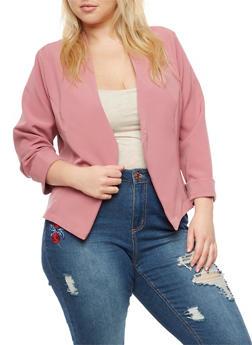 Plus Size Long Sleeve Open Front Blazer - MAUVE - 9423020626499
