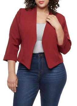 Plus Size Long Sleeve Open Front Blazer - 9423020626499