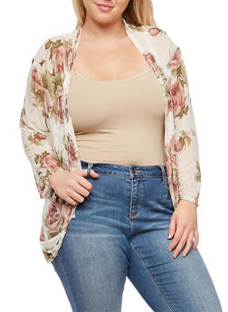 Plus Size Long Sleeve Floral Mesh Cardigan - IVORY - 9424020626234