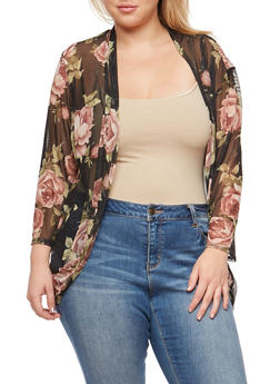 Plus Size Long Sleeve Floral Mesh Cardigan - MAUVE - 9424020626234