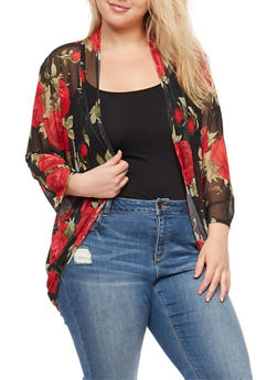 Plus Size Long Sleeve Floral Mesh Cardigan - RED - 9424020626234