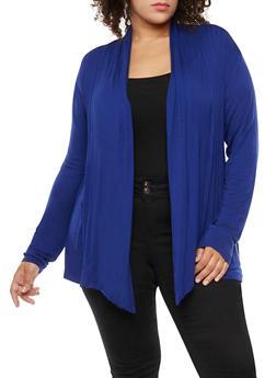Plus Size Pleated Cardigan - 9424062705133