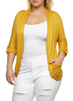 Plus Size Tabbed Sleeve Ruched Cardigan - MUSTARD - 9424062709974